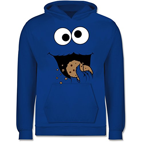 & Fasching Kinder - Keks-Monster - 12-13 Jahre (152) - Royalblau - JH001K - Kinder Hoodie ()
