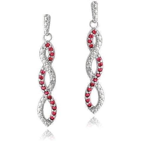 In argento Sterling, rubini 5ct & diamante Accent 3 Infinity-Orecchini a pendente con 32,23 - 5 Ct Orecchini Di Diamanti