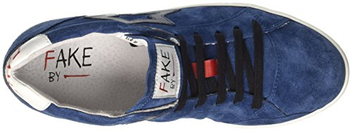 Fake By Chiodo Mid 094, Sneaker a Collo Alto Donna Blu (Crosta Blu/Sidney Soft Flag)