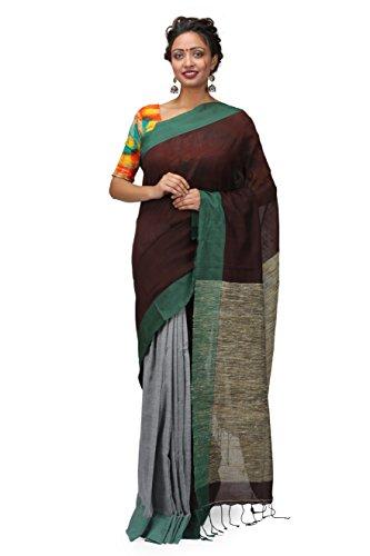 The Weave Traveller Handloom Hand Woven Khadi Cotton Ghicha Pallu Saree With...