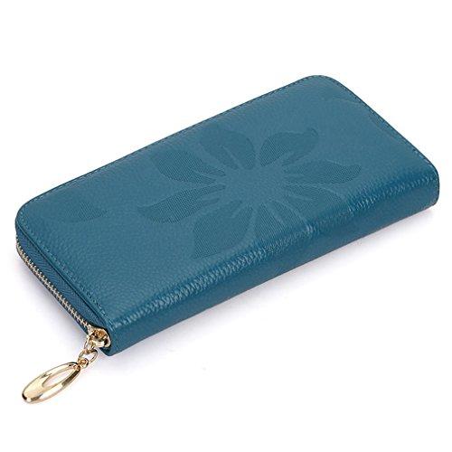 Yueling Echtes Leder Lange Geldbörse Frauen Brieftasche Erste Schicht Rindsleder Wallets Reißverschluss Blume Geprägte Weiche Feminina Blue (3-schicht-laser)