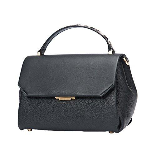 Mena UK Lady e Women's Fashion squisito sintetico primo strato di borsa della borsa della spalla della borsa del sacchetto di Tote ( Colore : Vino rosso , dimensioni : 27cm*17cm*13cm ) Nero
