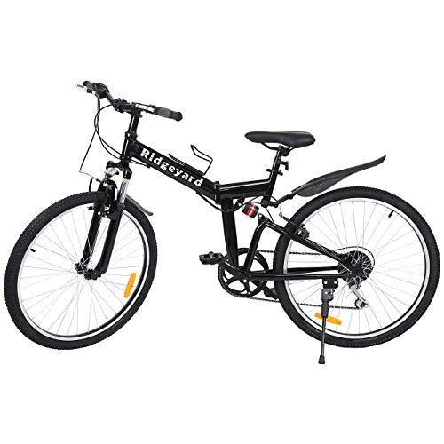 Ridgeyard 26 7 velocidades Plegable Bicicleta Folding Bike Bicicleta de montaña Shimano (Negro)