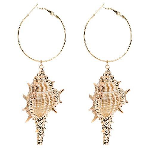 XAFXAL Damen Ohrringe,Damenmode Temperament Muschelhörner Big Drop Ohrhänger Für Frauen Mode Schmuck Böhmischen Stil Ohrringe Zubehör