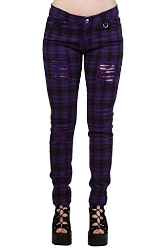 "Pantalones Ajustados Púrpura Tartán a Cuadros Rasgados Emo Punk de Banned - (L / 32"" / ES 42)"