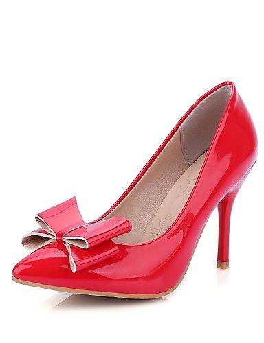 WSS 2016 Chaussures Femme-Bureau & Travail / Décontracté-Noir / Rouge / Blanc / Beige-Talon Aiguille-Talons / Bout Pointu-Talons-Cuir Verni red-us7.5 / eu38 / uk5.5 / cn38