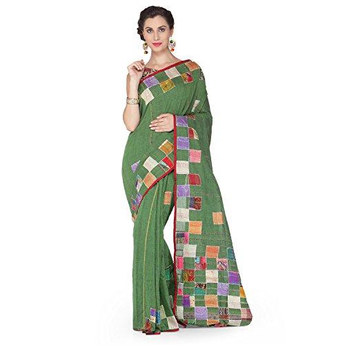 Tanya Green Applique Cotton Khesh Saree