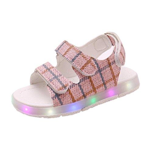 n Mädchen Leuchtend Sandalen Sommer Baby Fashion LED Leicht Weich Leder Sport Beiläufig Freizeit Schuhe Turnschuhe (EU26, Rosa) (Jordan Schuhe Größe 5)