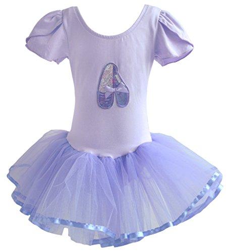 Dancina Mädchen Tutu Ballettkleid Klassisch Kurzarm 122 Lavender (Ballerina Kostüme Kinder)