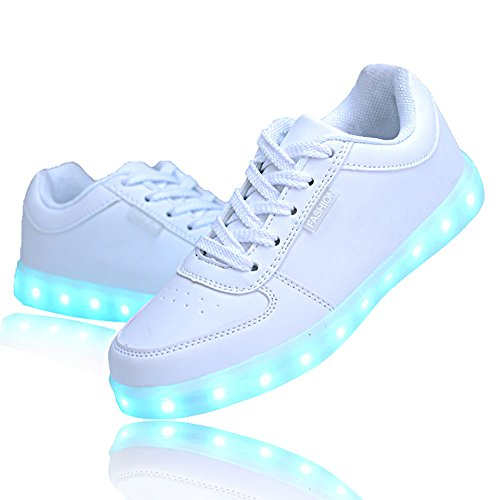 QOUJEILY Unisex LED Shoes 7 Colors USB Charging Sneakers (11 UK / 46 EU, White)