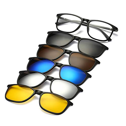 KCJKXC Sonnenbrille Magnet Klare Linse Mit Polarisierten Gläsern Unisex Für Männer Frauen Clip Auf Kurzsichtige Sonnenbrille Magnetspiegel