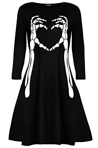 Star Fashion Oops Outlet Damen Halloween Kostüm Skelett Knochen Herz Kittel Swing Minikleid - Schwarz, M/L (UK 12/14) (Kittel Halloween-kostüm)