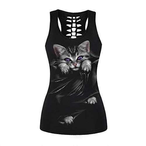 Damen Basic-kitty (SHOBDW Damen Criss Cross Bunt 3D Niedlich Kitty Print Racerback Sport Weste Cami T-Shirt Gothic mehrfache Träger Sleeveless Hemd Weste Trägershirts Bandagen Ärmellos Strappy Tank Tops Bluse)