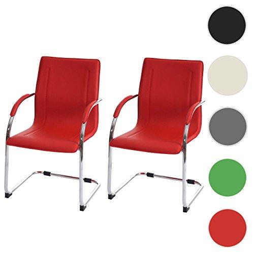 2x Konferenzstuhl Samara, Besucherstuhl Freischwinger, PVC ~ rot