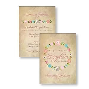 Occasions Direct-Biglietti di invito per compleanno, battesimo, per battesimo, confezione da 10 pezzi, consegna gratuita & buste, motivo Vintage con fiori, n. 11):