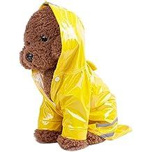 Sannysis Mascotas Ropa Impermeable Gabardina con Capucha para Perros (Amarillo, L)