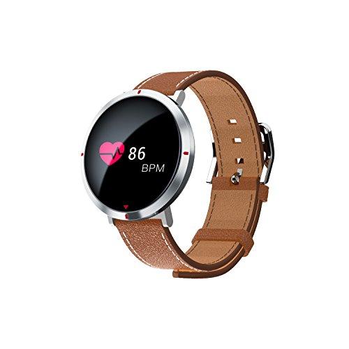 Fitness Tracker,Fitness armband Smart Armband mit Pulsmesser Schrittzaehler Aktivitätstracker Sleep Monitor SMS Anruf Benachrichtigung Fernbedienung Kamera Musik für iOS Android Handy ,Uhr für Damen Herren braun