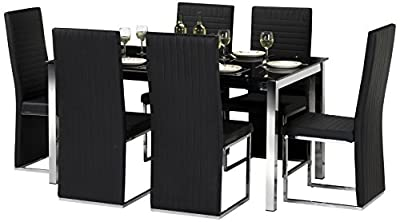 Julian Bowen Tempo Glass Dining Table Set with 6 Chairs, Black