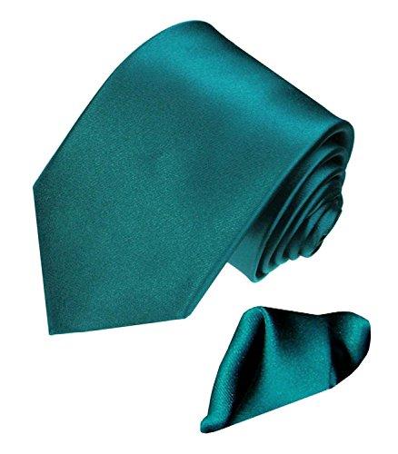 LORENZO CANA - Marken Set aus 100% Seide : türkis petrol farbene Krawatte mit Einstecktuch aus Satinseide - 8444101