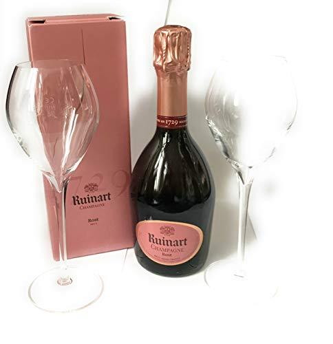 Ruinart Rose Champagner 0,375l in GePa 12{4aba8b26f271d570b454c26f2c097990008024fb5bbcfefb8c335fa015c19644} Vol + 2 Ruinart Gläser