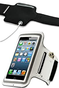 HHI Sports Armband with Key Holder Pocket for Apple iPhone 5 and iPhone 5S - White (Package include a HandHelditems Sketch Stylus Pen)