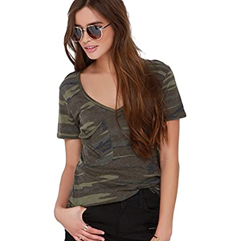 Escalier Mujer Camiseta Camuflaje Militar Estilo Corto Manga Camisetas y tops