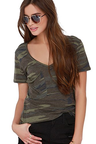 Escalier Donna Estate Plus Size Camo con scollo a V manica corta T-Shirt Top