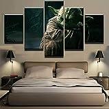 XCHWLH Toile 5 Pièces Cadre De Peinture 200X100 Cm5 Pièce Star De Cinéma Maître De Guerre Yoda Wall Art Image Décoration De La Maison Salon Toile Impression Peinture Murale Peinture Impression