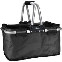 Genius Einkaufskorb | Schwarz | 25 kg | 26 l | Faltbar | Reißverschluss | Carry-Bag | Einkaufs-Tasche | Shopping-Bag |