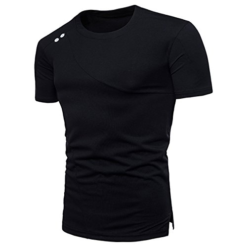 Herren Pure Farbe Entworfen Freizeit Kurzarm T Shirt(S,Schwarz)