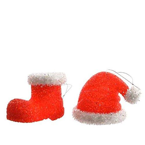 Decoris LED Weihnachtsbaumdekoration, Weihnachtsmütze, Weihnachtsstiefel, Beleuchtet