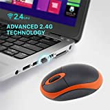 Maikou Mouse 2.4Ghz Wireless Optical Mouse 1200Dpi Ergonomic Computer Mice With USB 2.0 Receiver For Pc Laptop, Orange