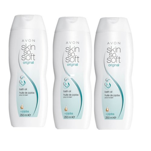 3 x AVON SKIN SO SOFT ORIGINAL BATH OIL WITH JOJOBA OIL ~ 250ml. [Misc.]