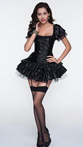 r-dessous sexy Corsagenkleid Corsage + Rock Mini Kleid schwarz kurz Cocktailkleid Partykleid Abendkleid Gothic Schwarz