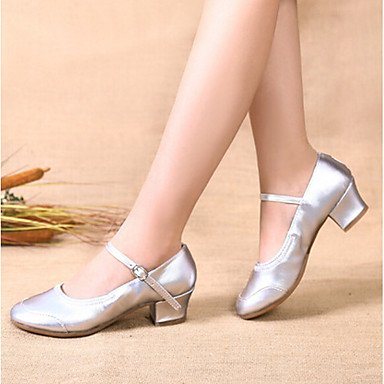 Silence @ Chaussures de danse pour femme en satin Talon Plat Ballet Semelle complète satiné Intérieur Rose Silver