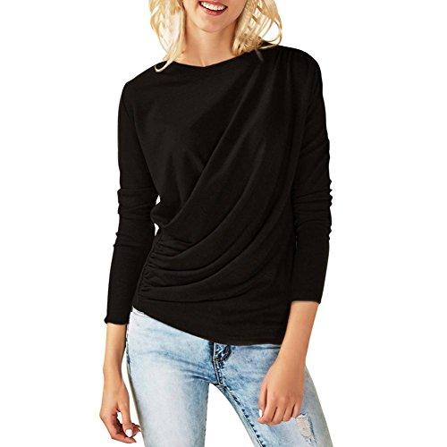 Sannysis Mode Damen Langarm O-Ausschnitt Ruched Sweatshirt Bluse Jumper Pullover Oberteile Oversize Tops (Schwarz, L) (Ruched Knit Top)