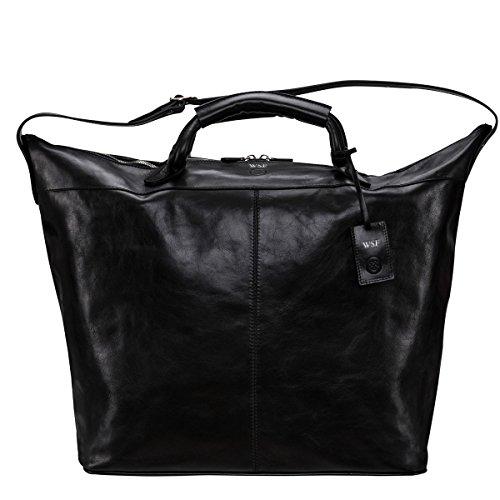 Maxwell Scott Bags® Luxus Leder Reisetasche in Schwarz