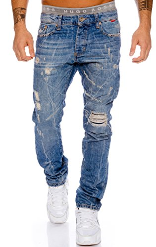 Redbridge by Cipo & Baxx Herren Jeans Hose Destroyed Verwaschen Used Clubwear (W32/L32)