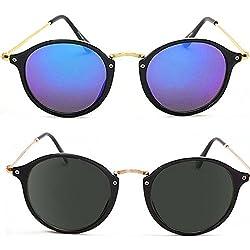 Trendmi Combo of 2 Black Golden Frame Blue Black Lens Unisex Oval Sunglasses