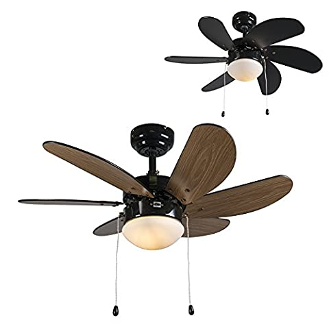 QAZQA Moderne Ventilateur de Plafond avec lumiere Fresh 30 noir