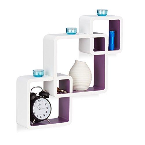 Relaxdays 10021803_749 3 mensole da parete per soggiorno, laccato opaco, elevata capacità di carico, bianco-viola
