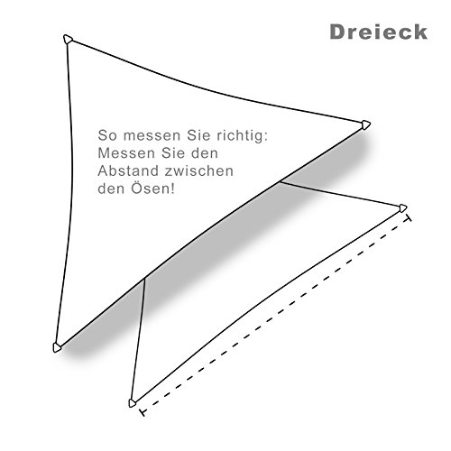 hanSe® Marken Sonnensegel Sonnenschutz Segel Dreieck 3,6×3,6×3,6 m Creme - 3
