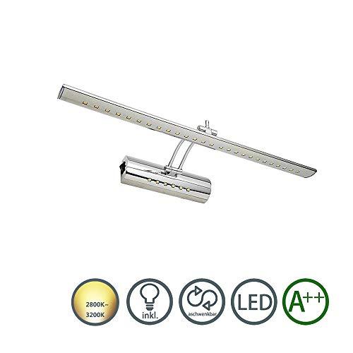 LED Spiegelleuchte Spiegellampe Badleuchte Wandleuchte Schminklicht AV85-220V Dual-Lichtquelle Mit Schalter 180° einstellbar Edelstahl (7W Warmweiß) -