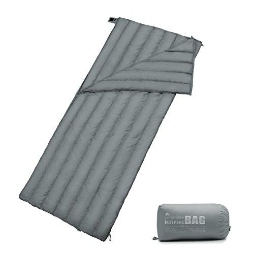 MOUNTAINTOP Schlafsack, Ultraleicht mit kleinstem Packmaß Reiseschlafsack Sommerschlafsack leicht Deckenschlafsack (300G-Grau)