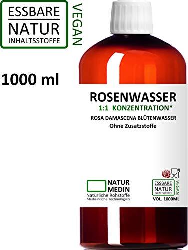 ROSENWASSER 1000-ml Gesichtswasser, 100% naturrein, 1:1 Konzentration, Rosa damascena Blüttenwasser, ohne Zusatzstoffe, PET Braunflasche, nachhaltig -
