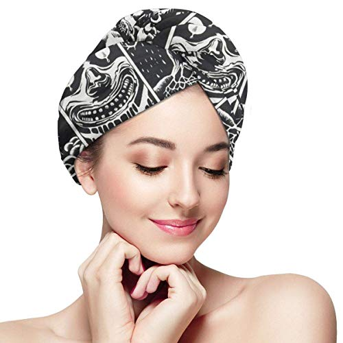 Imagen de hair drying towels halloween swag animal skull wrap turban bath shower head towel quick magic dryer hat for daughter absorbent quickly cap anti frizz for curly hands free hair