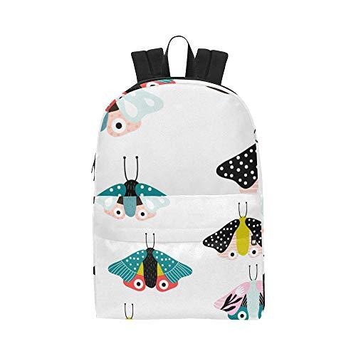 Cartoon Insekten Flying Moth Klassische niedliche Wasserdichte Laptop Daypack Taschen School College Kausal Rucksäcke Rucksäcke Bookbag für Kinder, Frauen und Männer Reisen mit Reißverschluss