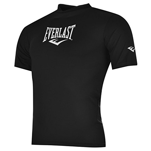 Everlast Herren Kurzarm Rashguard T Shirt Rundhals Stretch Shirt Top Sportshirt Schwarz