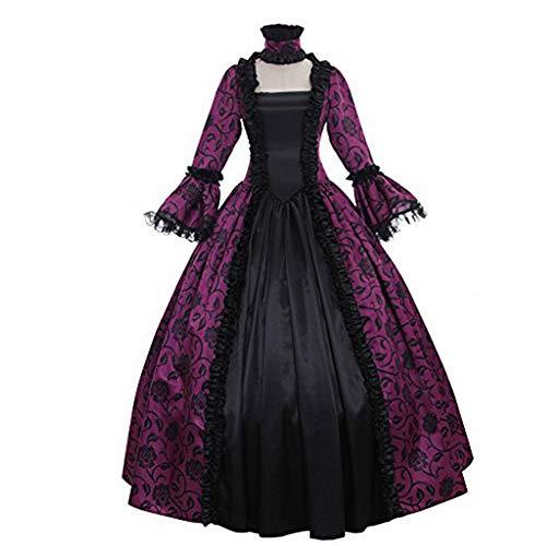 XZPQ Frauen Retro Dinner Kleider, Party Kostüme,Purple,XL Purple Party Kleider