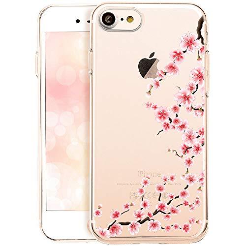 OOH!COLOR® Design Case für iPhone 7 mit Motiv NFL058 rose Blumen Silikon Hülle elastisch Schutzhülle Transparent Case Luxus Cover Slim Etui